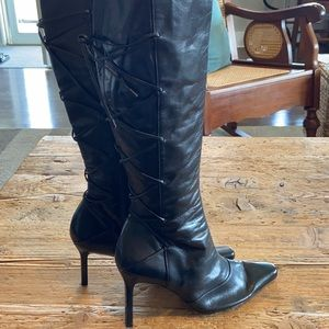 VINTAGE CHARLES JOURDAN BLACK LEATHER BOOTS SZ 9
